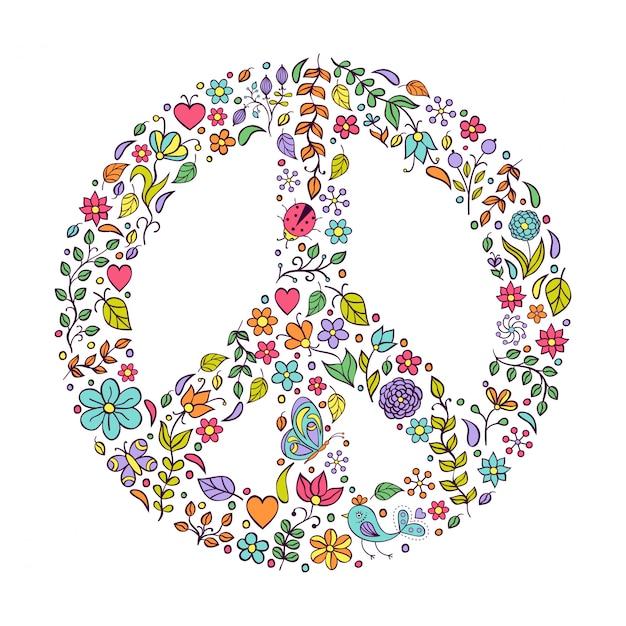 Friedenssymbol auf weißem hintergrund Premium Vektoren