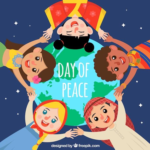 Friedenstag hintergrund mit vereinigten kindern Kostenlosen Vektoren
