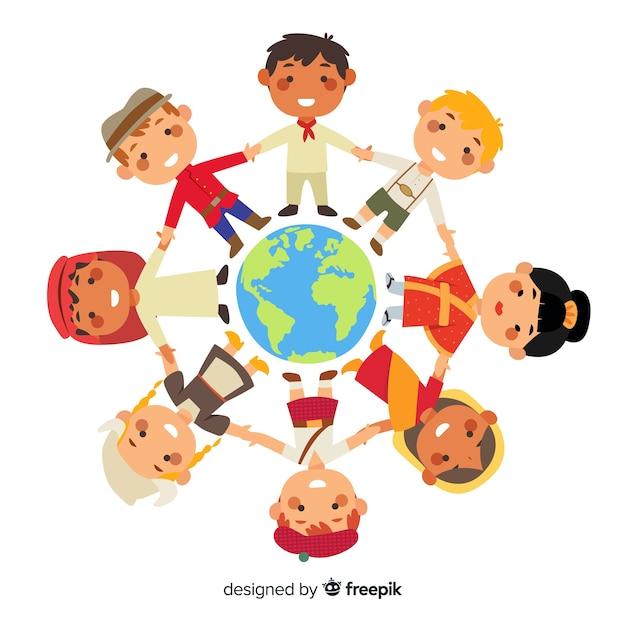 Friedenstag mit den kindern, die hände anhalten Kostenlosen Vektoren