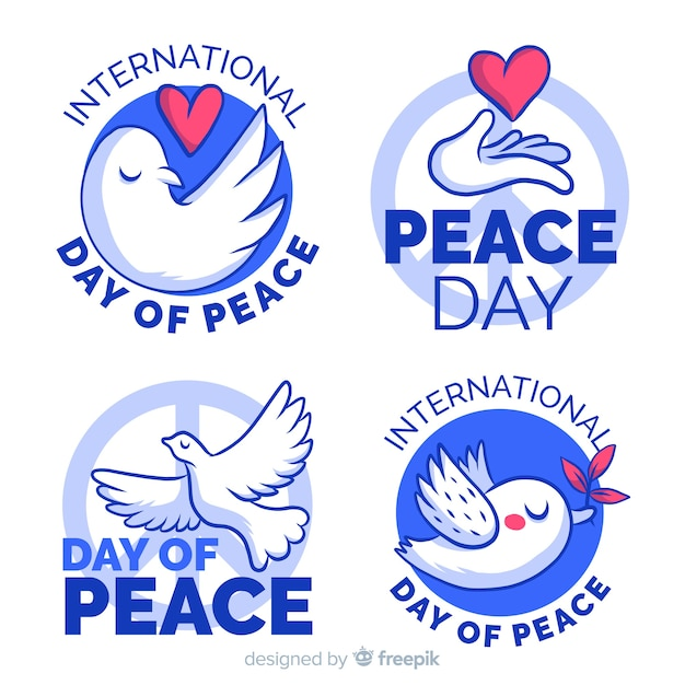 Friedenstagesabzeichensammlung mit flachem design Kostenlosen Vektoren