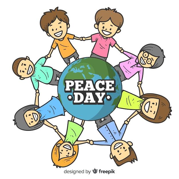 Friedenstageshintergrund mit den kindern, die hände um erde halten Kostenlosen Vektoren
