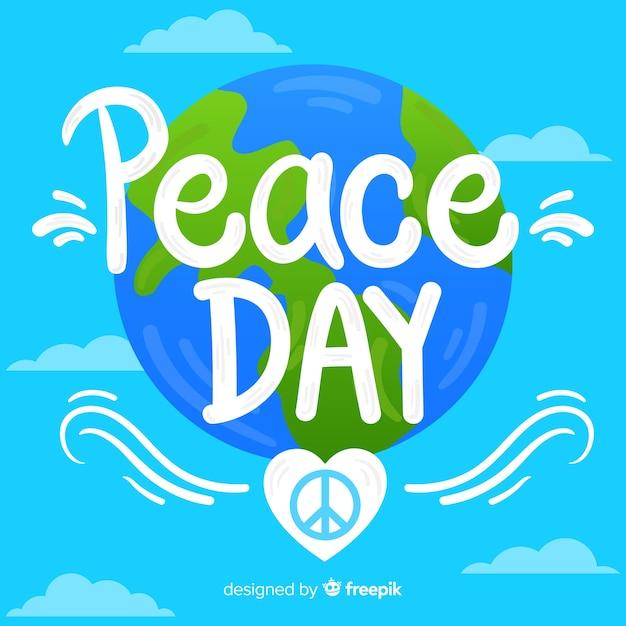 Friedenstageskonzept mit beschriftung Kostenlosen Vektoren