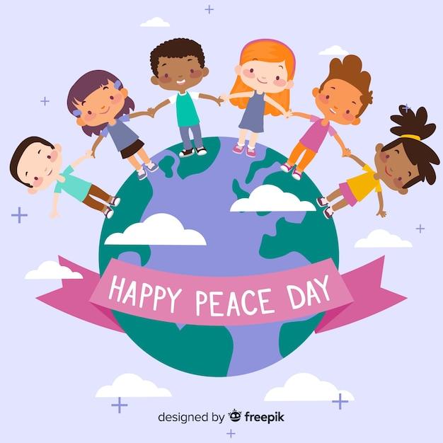 Friedenstageszusammensetzung mit dem kinderhändchenhalten auf der ganzen welt Kostenlosen Vektoren