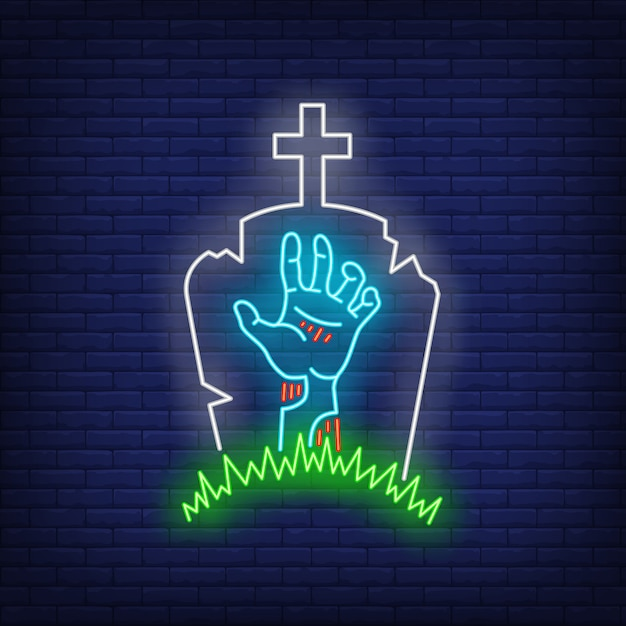 Friedhof mit grabstein- und zombiehandleuchtreklame Kostenlosen Vektoren