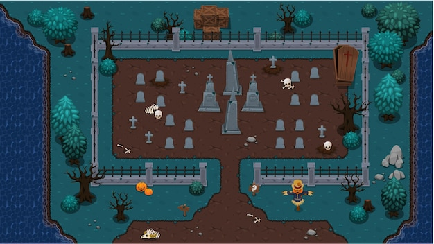 Friedhof top down game tileset Premium Vektoren
