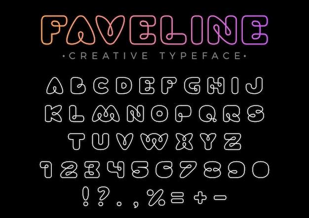 Friendly design lineare schriftart für titel, kopfzeile, schriftzug, logo, monogramm. strichzeichnungen stil. Kostenlosen Vektoren