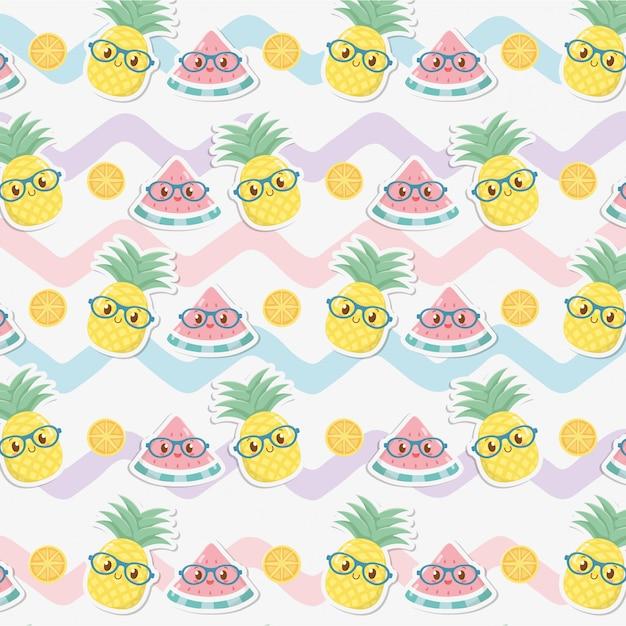 Frische ananas und wassermelonen tragen kawaii charaktermuster früchte Premium Vektoren