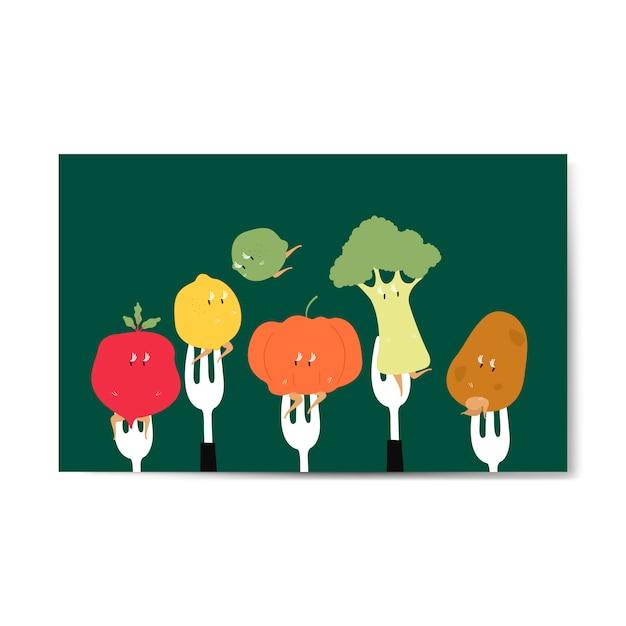 Frische bio-gemüse-cartoons auf gabeln Kostenlosen Vektoren