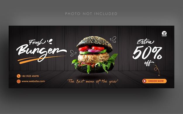 Frische burger promotion social media facebook cover banner vorlage Premium Vektoren