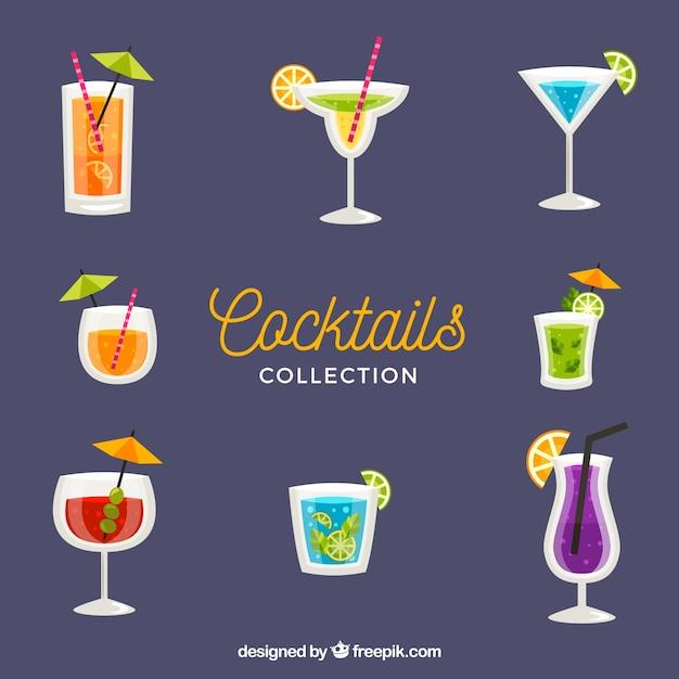 Frische cocktails sammlung in flachen stil Kostenlosen Vektoren