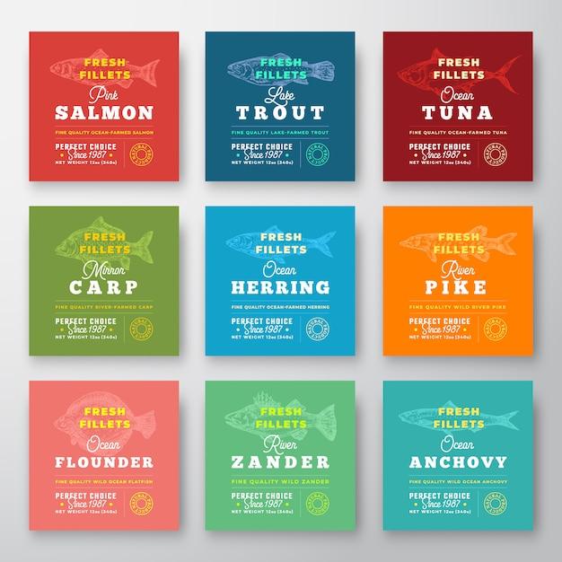 Frische filets premium quality labels set. abstraktes fischverpackungs-entwurfslayout. retro-typografie mit grenzen und handgezeichnetem fisch-silhouette-hintergrund. Premium Vektoren