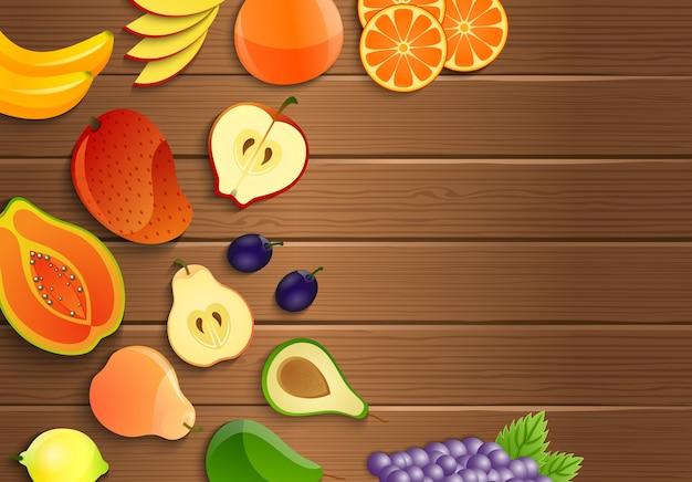 Frische früchte auf einem braunen hölzernen hintergrund Premium Vektoren