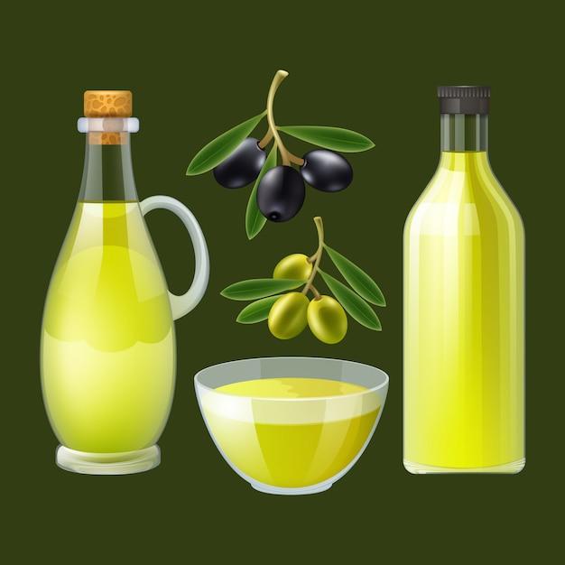 Frische gepresste olivenölflasche und -ausgießer mit dekorativem plakat der schwarzen und grünen oliven Kostenlosen Vektoren