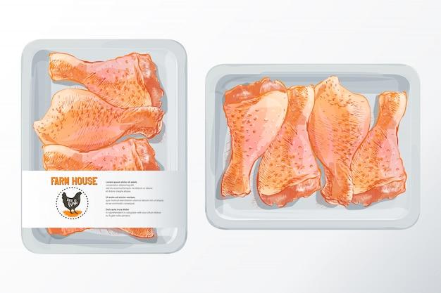 Frische hühnerbeine Premium Vektoren