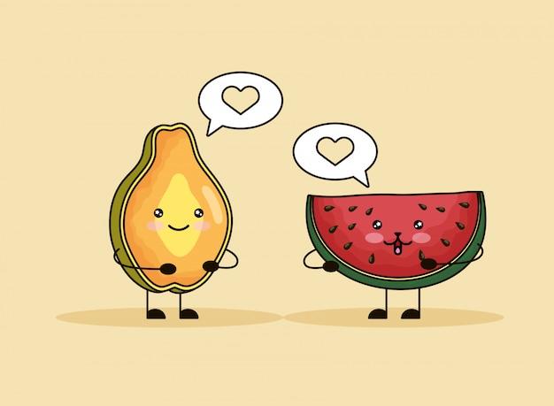 Frische papaya- und wassermelonenkawaii charaktere Premium Vektoren