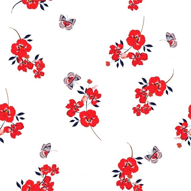 Frische rote stiefmütterchenblumen mit dem weichen und leichten nahtlosen muster der schmetterlinge auf vektordesign für mode, gewebe, tapete und alle drucke Premium Vektoren