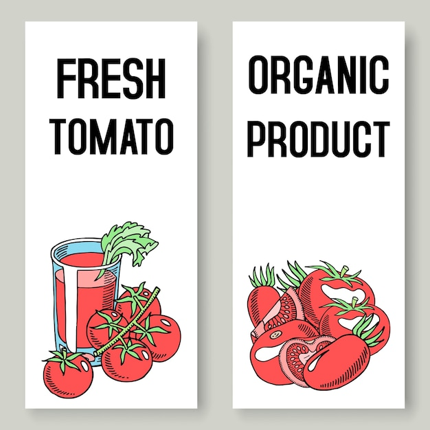Frische saftfahnen der tomate. gesundes essen. Premium Vektoren
