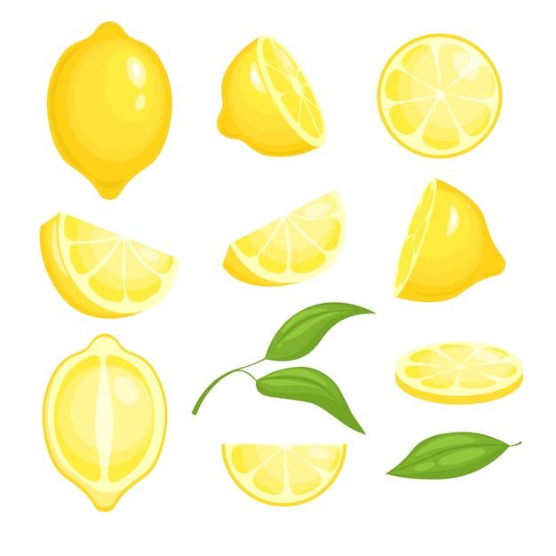 Frische zitronen-auflistung. gelb geschnittene zitrusfrüchte mit grünem blatt für limonade. isolierte comic-bilder von zitronen Premium Vektoren