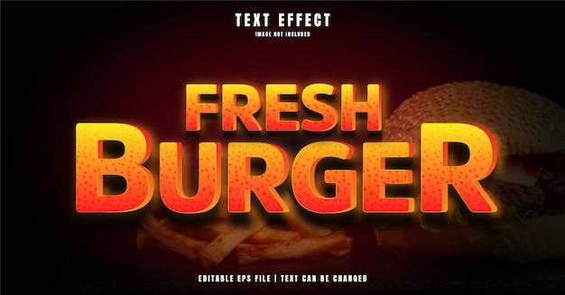 Frischer bearbeitbarer 3d-texteffekt von burger Premium Vektoren