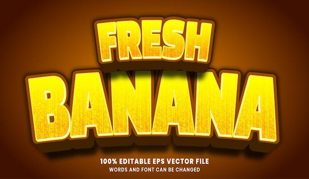 Frischer bearbeitbarer textstileffekt der banane 3d Premium Vektoren