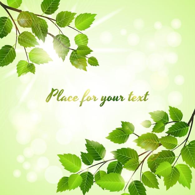Frischer grüner hintergrund mit frühlingsblättern in zwei gegenüberliegenden ecken über einem boheh des funkelnden sonnenlichts mit copyspace Kostenlosen Vektoren