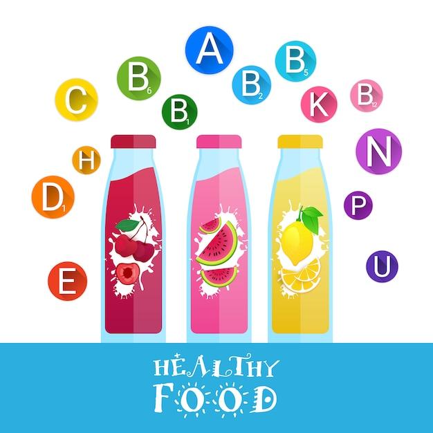 Frischer juice bottles logos mit satz vitaminen lokalisierte naturkost-landwirtschaftliches produkt-konzept Premium Vektoren