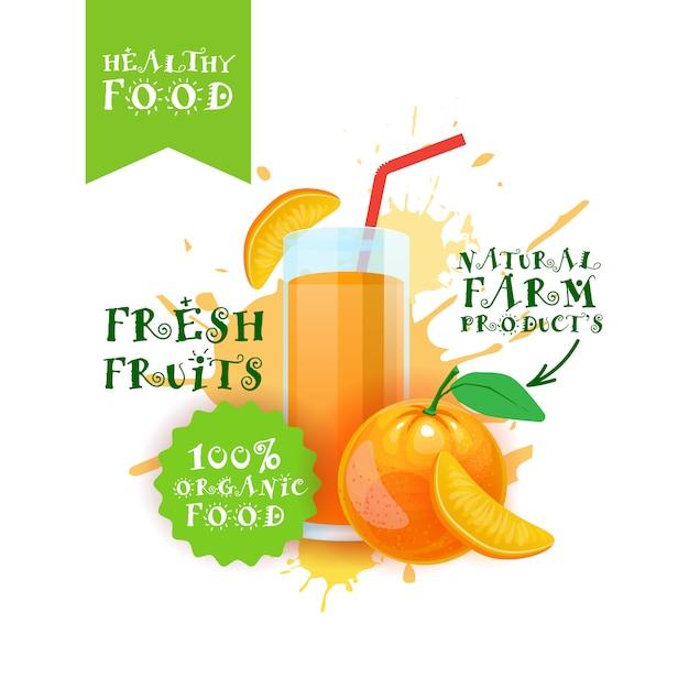 Frischer orangensaft logo natural food farm products label über farbspritzen Premium Vektoren