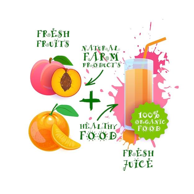 Frischer saft-cocktail-pfirsich und orange naturkost-bauernhof-produkt-aufkleber Premium Vektoren