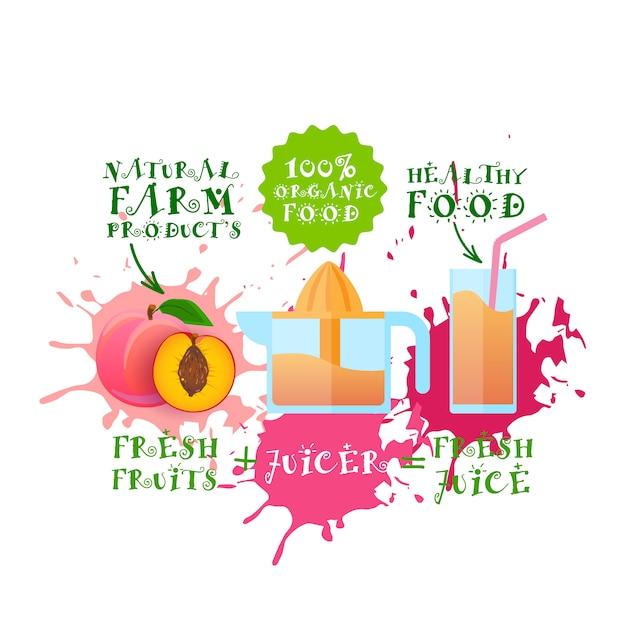 Frischer saft illustration pfirsich juicer maker naturkost und landwirtschaftliche produkte konzept paint splash Premium Vektoren