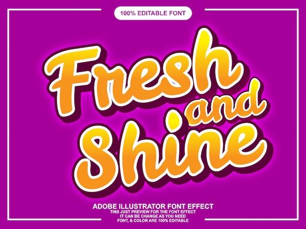 Frischer und glänzender schriftzug editierbarer typografie-font-effekt Premium Vektoren