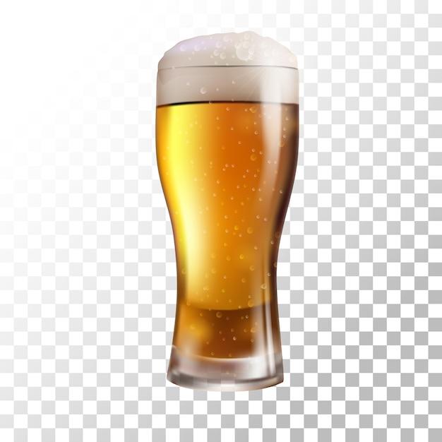 Frisches bier der vektorillustration auf transparentem hintergrund Premium Vektoren