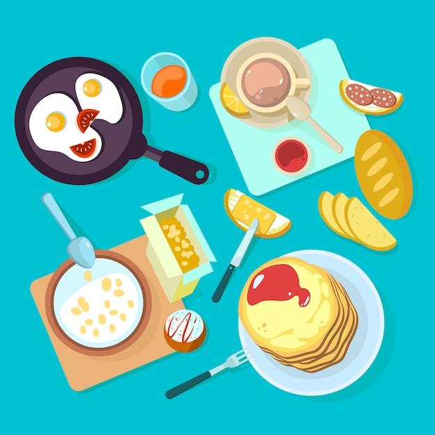 Frisches gesundes frühstücksnahrungsmittel und draufsicht der getränke Premium Vektoren