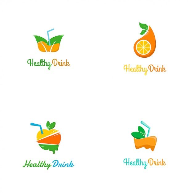 Frisches und buntes gesundes getränk logo template Premium Vektoren