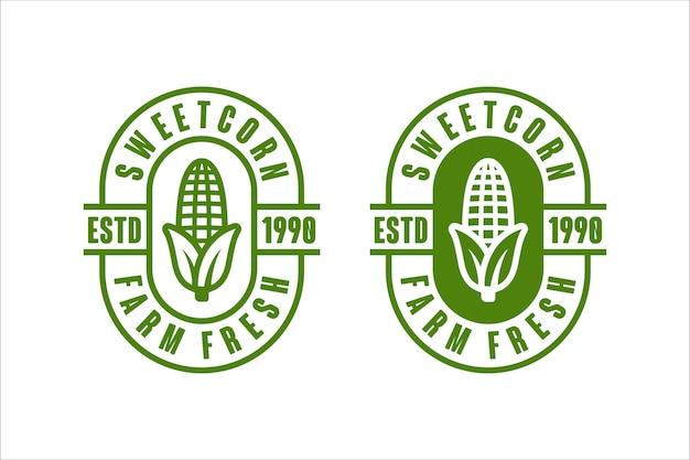 Frisches vektor-design-logo der zuckermaisfarm Premium Vektoren