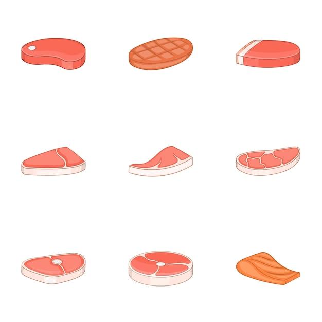 Frischfleisch, fischikonen eingestellt, karikaturart Premium Vektoren