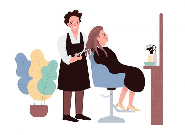Friseur flache farbe zeichen. männlicher friseur, der haarschnitt tut. weiblicher kaukasischer klient, der frisur erhält. professioneller friseur. schönheitssalonverfahren isolierte karikaturillustration Premium Vektoren