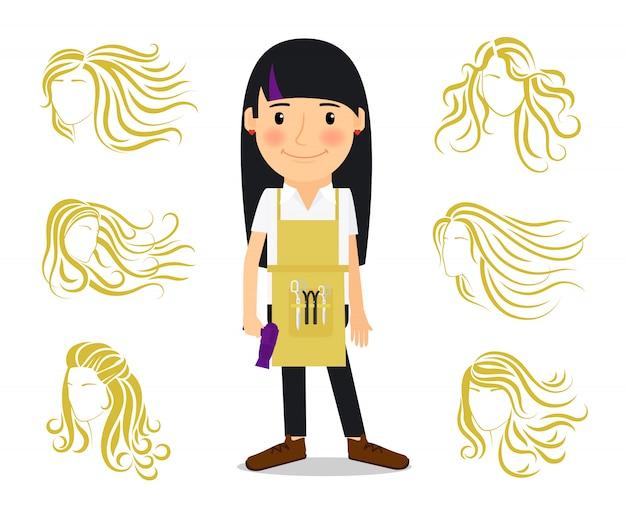 Friseur und weibliche frisuren Premium Vektoren