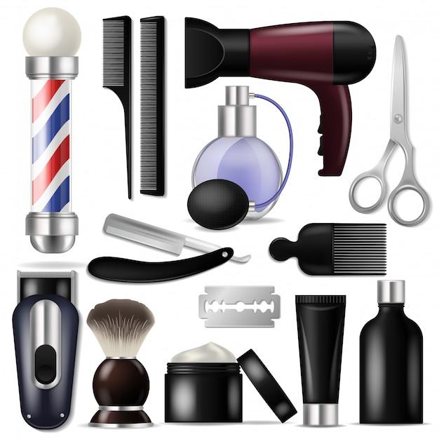 Friseur vektor barbershop ausrüstung oder friseur werkzeuge zum haarschneiden illustration rasierset Premium Vektoren