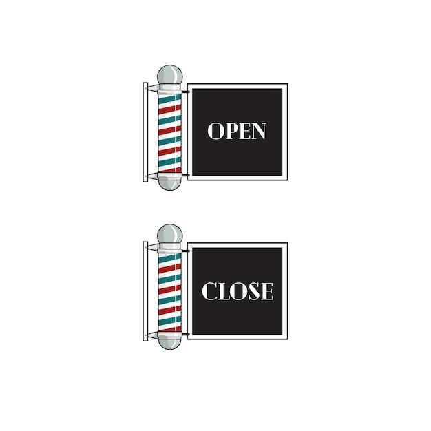 Friseur-zeichen öffnen und schließen Premium Vektoren