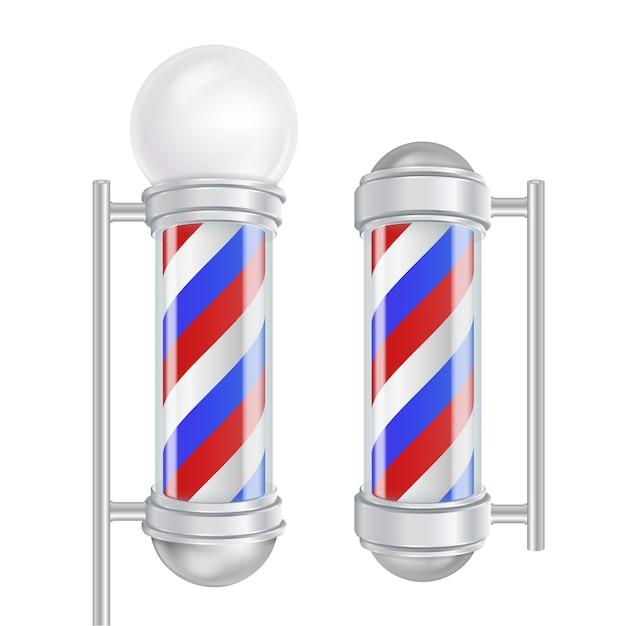 Friseurladen-pole-vektor. klassische friseurladen pole. rote, blaue, weiße streifen. getrennt auf weißer abbildung Premium Vektoren