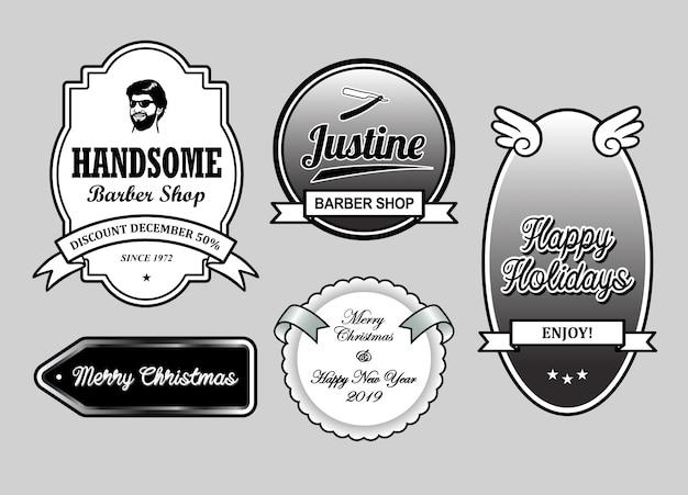 Friseurladen weihnachts- und neujahrs-label-abzeichen Premium Vektoren