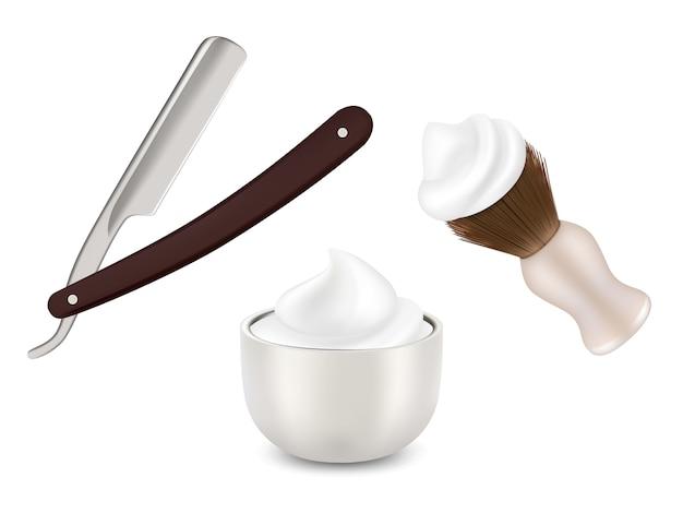 Friseurrasierer, rasierpinsel und becher mit schaum Premium Vektoren