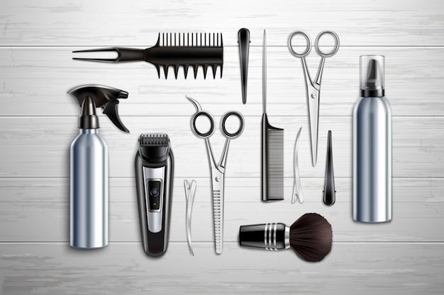 Friseursalon friseursalon werkzeuge sammlung realistische draufsicht mit schere trimmer clipper monochrome holztisch vektor-illustration Kostenlosen Vektoren