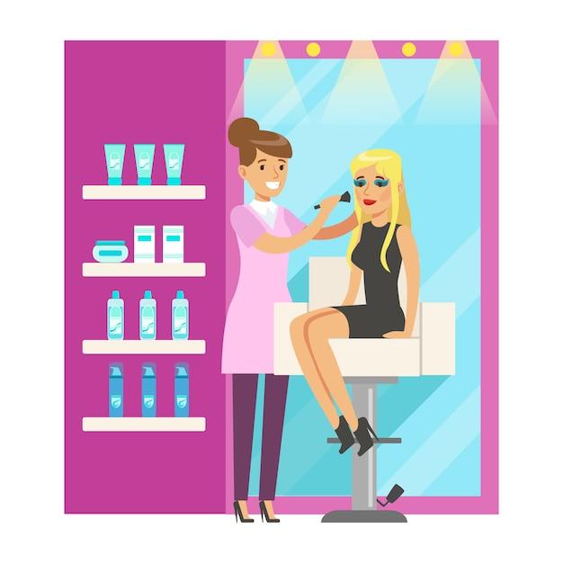 Friseursalon oder friseursalon interieur. bunte zeichentrickfigur illustration Premium Vektoren