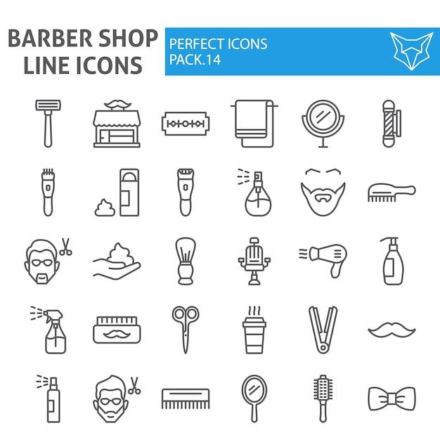 Friseursalonlinie ikonensatz, frisursammlung Premium Vektoren