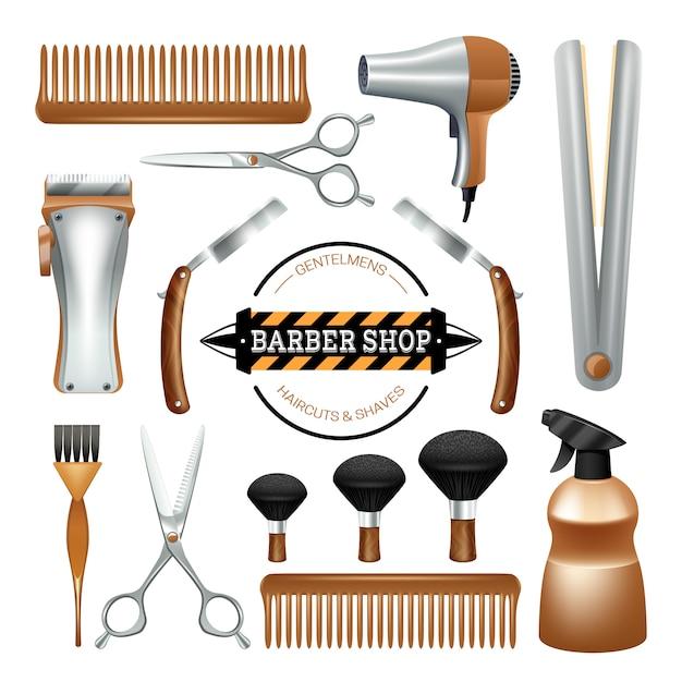 Friseursalonzeichen- und -werkzeugkammscherenbürstenrasierer färben dekorativen ikonensatz Kostenlosen Vektoren