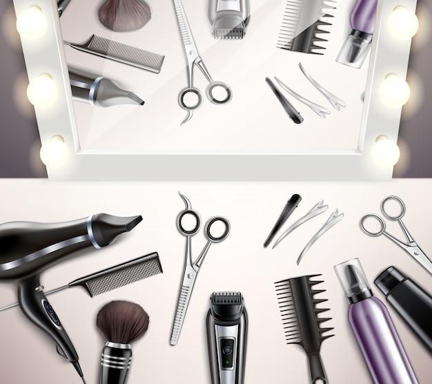 Friseurwerkzeuge für frisur und haarschnitt draufsicht realistisch Kostenlosen Vektoren