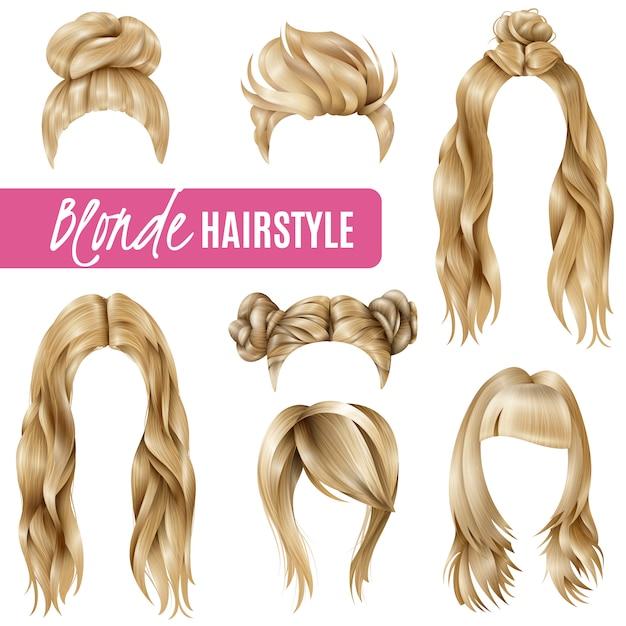 Frisuren für blonde frauen eingestellt Kostenlosen Vektoren