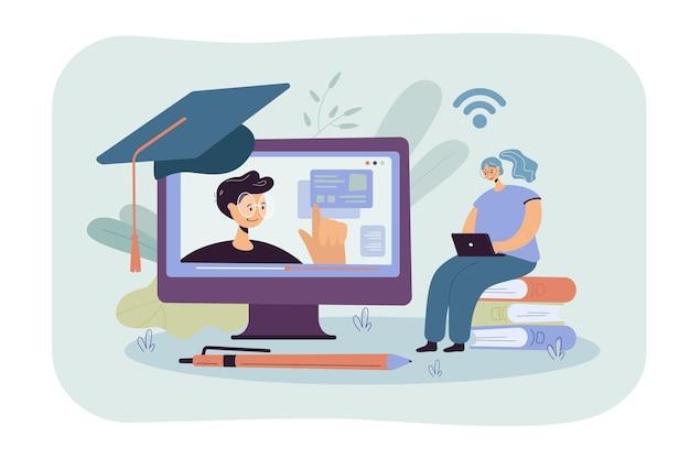Fröhliche frau, die im internet studiert, webinar am computer sieht, online-kurs nimmt. karikaturillustration Kostenlosen Vektoren