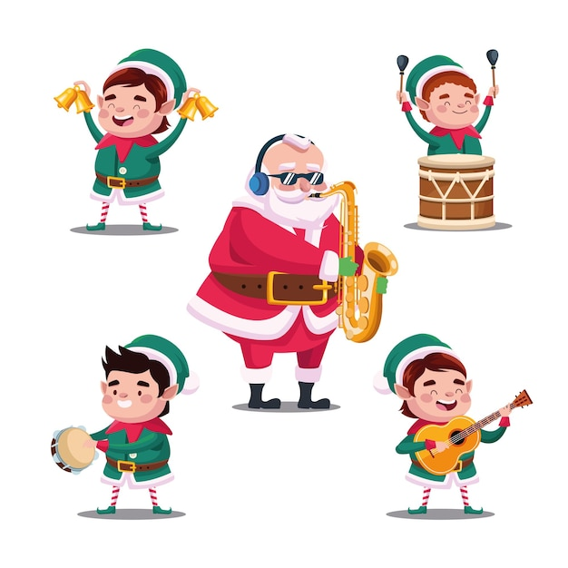 fröhliche frohe weihnachten bündel von santa und elfen